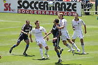 20 June 2009: Pablo Campos of the Earthquakes battles for the ball in the air against Gregg Berhalter of the Galaxy during the game at Oakland-Alameda County Coliseum in Oakland, California.   Earthquakes defeated Galaxy at 2-1.