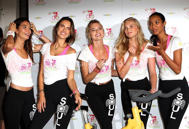 ACEPIXS.COM<br /> <br /> July 9 2014, New York City<br /> <br /> (L-R) Victoria's Secret models Lily Aldridge, Alessandra Ambrosio, Martha Hunt, Elsa Hosk and Lais Ribeiro at Victoria's Secret Angel Supermodel Cycle For Pelotonia on July 9, 2014 in New York City. <br /> <br /> <br /> <br /> By Line: Nancy Rivera/ACE Pictures<br /> <br /> ACE Pictures, Inc.<br /> www.acepixs.com<br /> Email: info@acepixs.com<br /> Tel: 646 769 0430