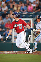 Fort Myers Miracle catcher Mitch Garver (25) at bat during a game against the Daytona Tortugas on June 17, 2015 at Hammond Stadium in Fort Myers, Florida.  Fort Myers defeated Daytona 9-5.  (Mike Janes/Four Seam Images)