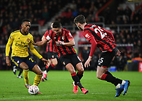 27th January 2020; Vitality Stadium, Bournemouth, Dorset, England; English FA Cup Football, Bournemouth Athletic versus Arsenal; Joe Willock of Arsenal competes for the ball with Andrew Surman of Bournemouth