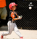 WATERBURY, CT-0712117JS13--Water-Oak's Johnny Napiello (0) rips a base hit during their consolation bracket game against the Bonnie's of Brooklyn,  in the Roberto Clemente Tournament Thursday at the Waterbury PAL field. <br /> Jim Shannon Republican-American