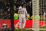 Lucas Vazquez and Carlos Henrique Casemiro of Real Madrid celebrate goal during La Liga match between Real Madrid and Sevilla FC at Santiago Bernabeu Stadium in Madrid, Spain. January 18, 2020. (ALTERPHOTOS/A. Perez Meca)
