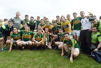 2-7-2017: Joint Kerry captain Johnny Buckley and the winning team at the Kerry V Cork Munster Football final in Killarney on Sunday.<br /> Photo: Don MacMonagle