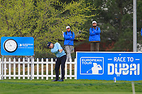 Stephen Gallacher (SCO) on the 1st tee during Round 4 of the Open de Espana 2018 at Centro Nacional de Golf on Sunday 15th April 2018.<br /> Picture:  Thos Caffrey / www.golffile.ie<br /> <br /> All photo usage must carry mandatory copyright credit (&copy; Golffile | Thos Caffrey)