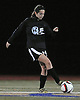 Suffolk Team No. 29 Rachel Suarez (Shoreham-Wading River HS) moves the ball at midfield during the second of two Long Island varsity girls' soccer senior all-star games against Nassau at Bethpage High School on Friday, November 27, 2015.<br /> <br /> James Escher