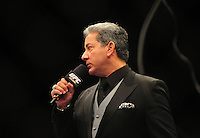 Oct. 29, 2011; Las Vegas, NV, USA; UFC announcer Bruce Buffer during a middleweight bout during UFC 137 at the Mandalay Bay event center. Mandatory Credit: Mark J. Rebilas-