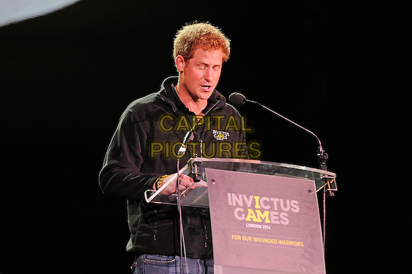 LONDON, ENGLAND - SEPTEMBER 14:  HRH Prince Harry attending The Jaguar Land Rover Invictus Games Closing Concert at Queen Elizabeth Olympic Park on September 14, 2014 in London, England.<br /> CAP/MAR<br /> &copy; Martin Harris/Capital Pictures