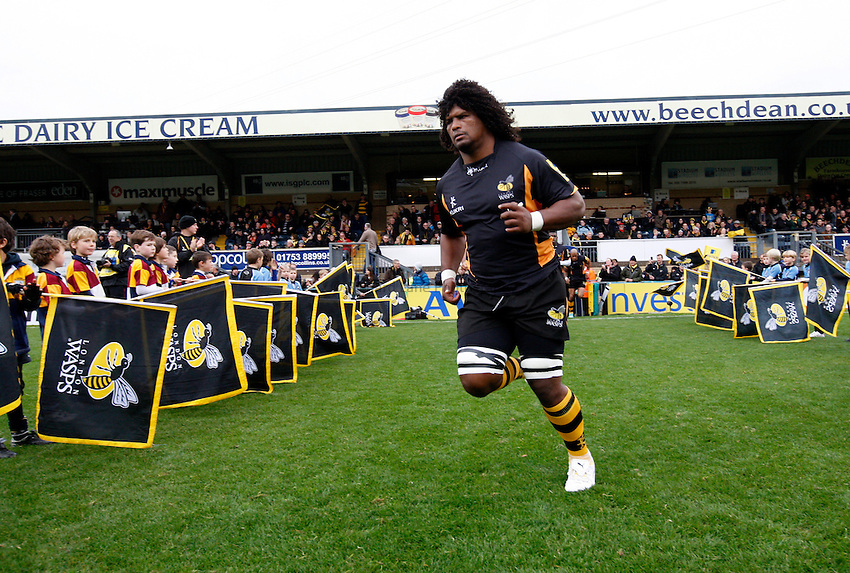 Photo: Richard Lane/Richard Lane Photography. London Wasps v London Welsh. 28/10/2012. Wasps' Ashley Johnson runs out.