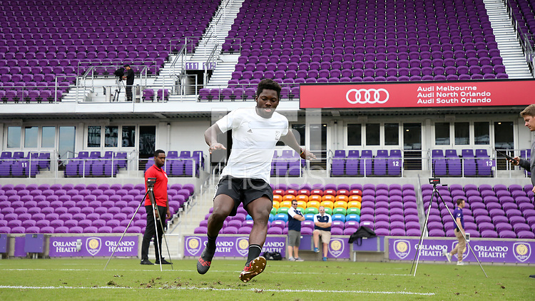 Orlando, Florida - Friday January 12, 2018: Ema Twumasi during the agility test. The 2018 adidas MLS Player Combine Skills Testing was held Orlando City Stadium.