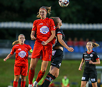 Woluwe's Marie Bougard (10)  and Essevee's Lotte De Wilde (19) battle for the high ball  during a female soccer game between FC Femina White Star Woluwe and Dames Zulte Waregem  on the first matchday of the 2020 - 2021 season of Belgian Women's SuperLeague , Friday 28 of August 2020  in Sint Lambrechts Woluwe , Belgium . PHOTO SPORTPIX.BE | SPP | SEVIL OKTEM