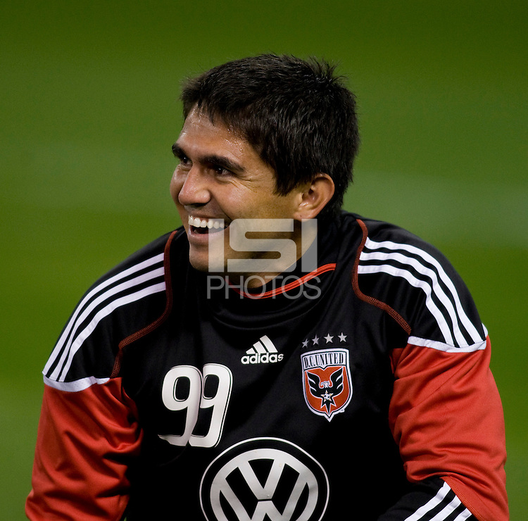 Jaime Moreno (99) of D.C. United warms up before the game at RFK Stadium in Washington, DC.  Toronto defeated D.C. United, 3-2.