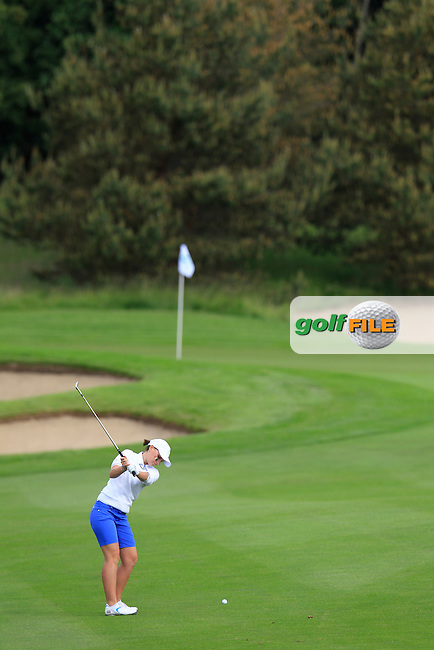 Charlotte Thomas on the 2nd during the Friday morning foursomes at the 2016 Curtis cup from Dun Laoghaire Golf Club, Ballyman Rd, Enniskerry, Co. Wicklow, Ireland. 10/06/2016.<br /> Picture Fran Caffrey / Golffile.ie<br /> <br /> All photo usage must carry mandatory copyright credit (&copy; Golffile | Fran Caffrey)