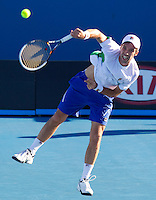 MIKHAIL KUKUSHKIN (KAZ) against VIKTOR TROICKI (SRB) in the second round of the Men's Singles. Mikhail Kukushkin beat Viktor Troicki 5-7 6-4 6-2 4-6 6-3..19/01/2012, 19th January 2012, 19.01.2012..The Australian Open, Melbourne Park, Melbourne,Victoria, Australia.@AMN IMAGES, Frey, Advantage Media Network, 30, Cleveland Street, London, W1T 4JD .Tel - +44 208 947 0100..email - mfrey@advantagemedianet.com..www.amnimages.photoshelter.com.