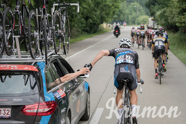 Wout Van Aert (BEL/Willems Veranda's - Crelan) getting a bidon from the teamcar at the back of the leading break<br /> <br /> 10th Heistse Pijl 2017