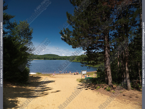 Arrowhead lake beach summertime scenery at Arrowhead Provincial Park, Ontario, Canada.