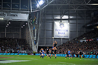 Sam Whitelock takes a restart during the Steinlager Series international rugby match between the New Zealand All Blacks and France at Forsyth Barr Stadium in Wellington, New Zealand on Saturday, 23 June 2018. Photo: Dave Lintott / lintottphoto.co.nz