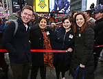 Josh Daniel and Erika Henningsen Along with Actors' Equity members talk to Broadway audiences about why they are fighting for a better development contract with the Broadway League after the Union announced Monday a strike for all development work with the Broadway League. TKTS Booth, Duffy Square Neil January 8, 2019 in New York City.