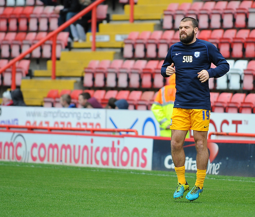 Preston North End's John Welsh during the pre-match warm-up <br /> <br /> Photo by Kevin Barnes/CameraSport<br /> <br /> Football - The Football League Sky Bet League One - Bristol City v Preston North End - Saturday 5th April 2014 - Ashton Gate - Bristol<br /> <br /> &copy; CameraSport - 43 Linden Ave. Countesthorpe. Leicester. England. LE8 5PG - Tel: +44 (0) 116 277 4147 - admin@camerasport.com - www.camerasport.com