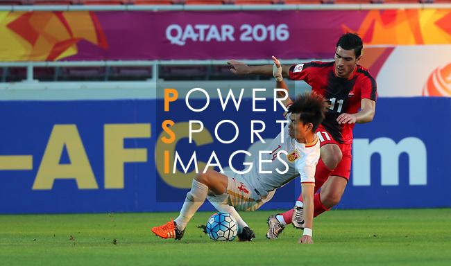 China PR vs Syria during the AFC U23 Championship 2016 Group A match on January 15, 2016 at the Abdullah Bin Khalifa Stadium in Doha, Qatar. Photo by Karim Jaafar / Lagardère Sports