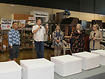 Chef Clint Jolly, center, introduces the judges during the Reno Bites Chef Showdown at Czyz's Appliance's gourmet kitchens in Reno, October 14, 2017.
