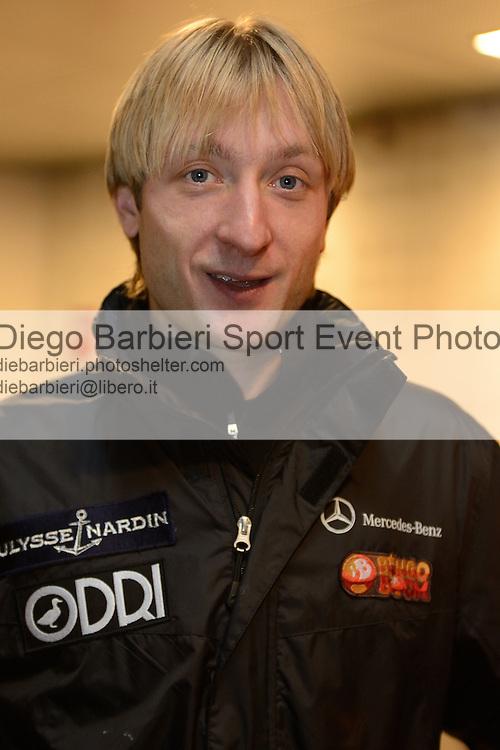 20/10/2012 - Grandi nomi del pattinaggio di figura su ghiaccio, si esibiscono per il Golden Skate 2012 al Palavela di Torino, il 20 ottobre 2012. .<br /> <br /> Evgeni Plushenko interview
