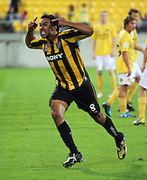 Paul Ifill celebrates scoring the Phoenix' third goal. A-League football - Wellington Phoenix v Central Coast Mariners at Westpac Stadium, Wellington. Friday, 12 February 2010. Photo: Dave Lintott / lintottphoto.co.nz