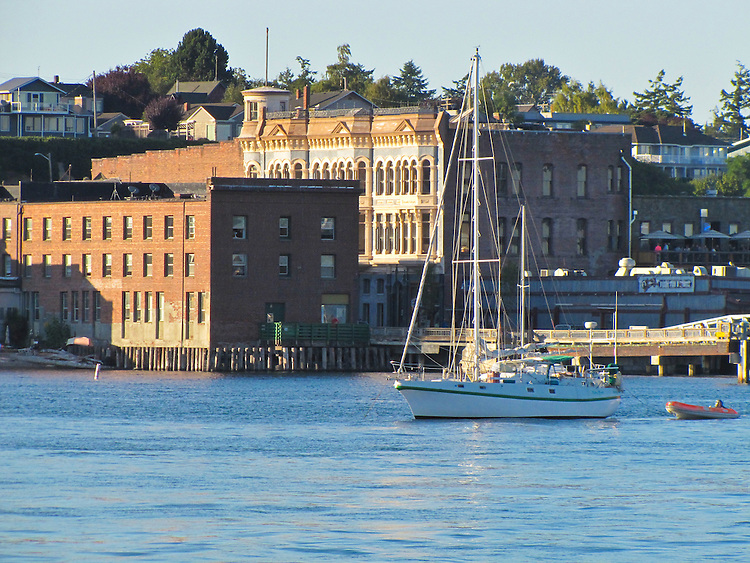 Port Townsend, waterfront, Water Street, Victorian architecture, National Historic Landmark, Puget Sound, Washington State, Pacific Northwest, USA,