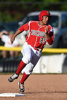 Batavia Muckdogs first baseman Carlos Duran (25) running the bases during a game against the State College Spikes on June 22, 2014 at Dwyer Stadium in Batavia, New York.  State College defeated Batavia 10-3.  (Mike Janes/Four Seam Images)