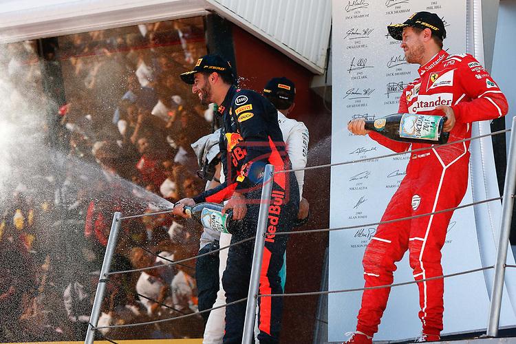Spanish F1 Grand Prix Pirelli 2017.<br /> Daniel Ricciardo (Red Bull) &amp; Sebastian Vettel (Ferrari).