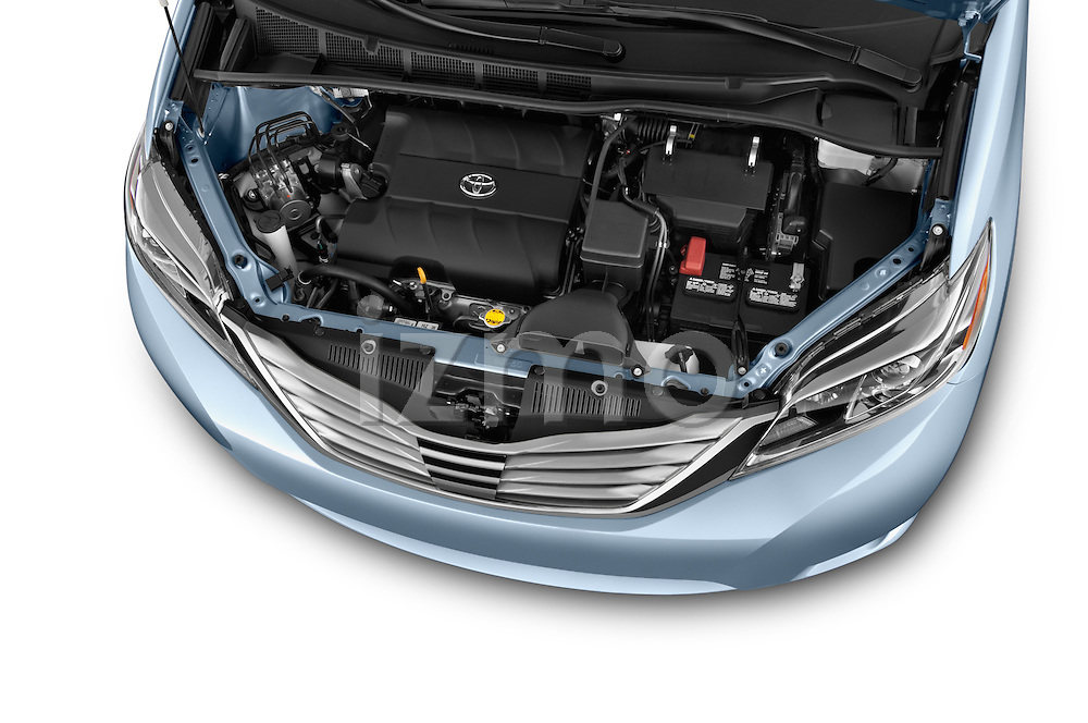 Car Stock 2017 Toyota Sienna Limited 5 Door Minivan Engine  high angle detail view