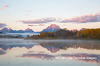 67545-09214 Sunrise at Oxbow Bend in fall; Grand Teton National Park; WY