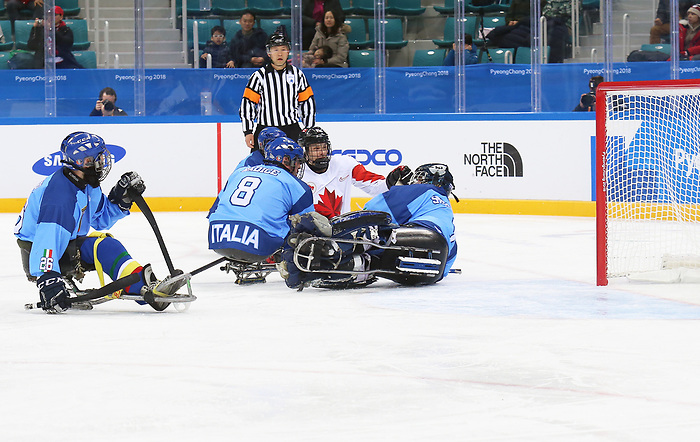 Pyeongchang, Korea, 11/3/2018-Liam Hickey of Canada plays Italy in hockey during the 2018 Paralympic Games in PyeongChang. Photo Scott Grant/Canadian Paralympic Committee.