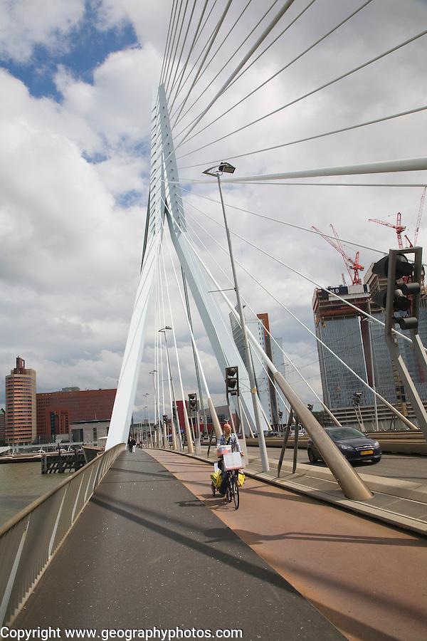 Erasmusbrug, Erasmus Bridge, spanning the River Maas, Rotterdam, Nethrlands