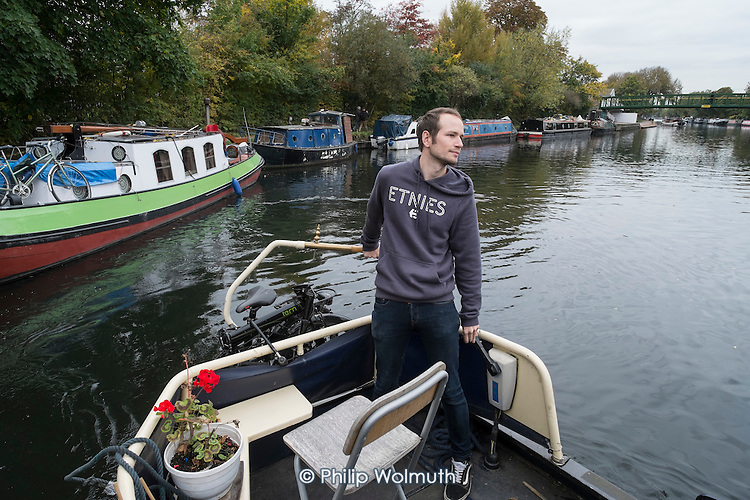 Houseboat on the River Lea, Hackney, London.