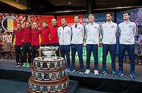 Gent, Belgium, November 26, 2015, Tennis, Davis Cup Final, Belgium-Great Britain, draw ceremonie,   Both teams, left Belgium and right Great Britain<br /> Photo: Tennisimages/Henk Koster
