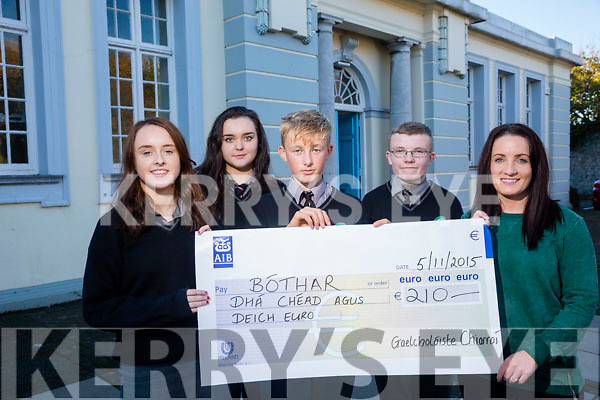 Gaelscoil Chiarrai students l-r  Sibeal Nic Hathaigh, Cait Ni Mheara, Omain Seal agus Brian O Dubhain presented a cheque to Aisling Matthews from Bothar  for €210.00 Euros. The money was raised by CSPE Junior Cert class by holding a Kerry Jersey Day