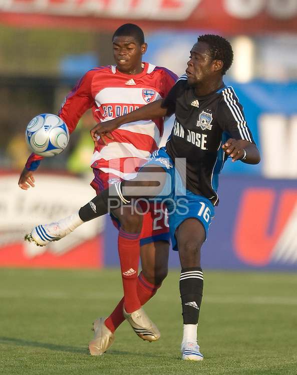Kei Kamara, right,  volleys the ball in front of Anthony Wallace, left. The San Jose Earthquakes tied FC Dallas 0-0, at Buck Shaw Stadium, in Santa Clara, California, Saturday, May 3, 2008. .