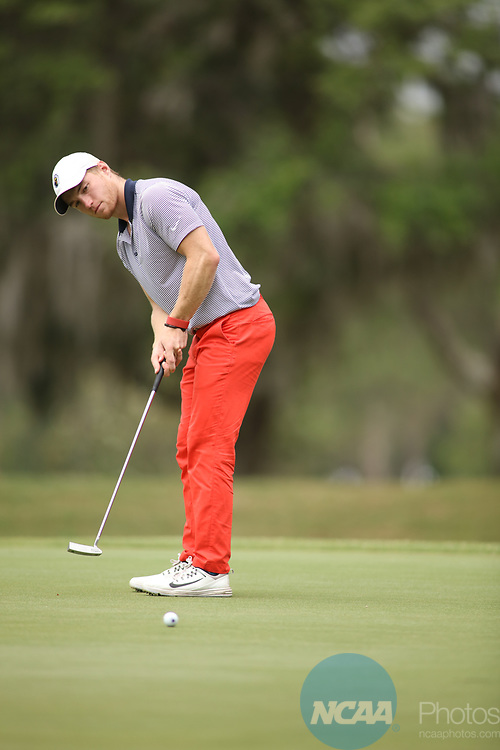 HOWEY IN THE HILLS, FL - MAY 19: George Toone of Texas at Tyler makes a putt during the Division III Men's Golf Championship held at the Mission Inn Resort and Club on May 19, 2017 in Howey In The Hills, Florida. (Photo by Cy Cyr/NCAA Photos via Getty Images)