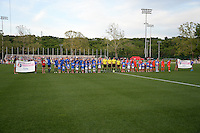 Kansas City, MO - Saturday May 07, 2016: Players are introduced before the game between Houston Dash and FC Kansas City during a regular season National Women's Soccer League (NWSL) match at Swope Soccer Village. Houston won 2-1.