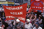 Anti racism march in the east end of London Brick Lane 1978 demonstration against the National Front party into the area 1970s. Various Asian and minority groups came to protest from all over London.