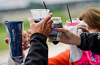 LOUISVILLE, KY - MAY 05: Fans toast their respective drinks on Kentucky Oaks Day at Churchill Downs on May 5, 2017 in Louisville, Kentucky. (Photo by Douglas DeFelice/Eclipse Sportswire/Getty Images)
