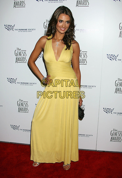 KATIE CLEARY .22nd Annual Genesis Awards held at the Beverly Hilton Hotel,  Beverly Hills, California, USA,  29 March 2008..full length yellow dress hand on hip .CAP/ADM/RE.©Russ Elliot/Admedia/Capital PIctures