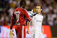 LA Galaxy midfielder & captain Landon Donovan and Bouna Coundoul GK of the New York Red Bulls have some choice words for one another. The New York Red Bulls beat the LA Galaxy 2-0 at Home Depot Center stadium in Carson, California on Friday September 24, 2010.