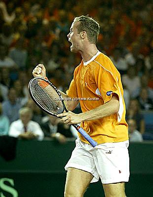 20030919, Zwolle, Davis Cup, NL-India, Martin Verkerk with his famoes vist