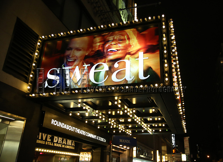 theatre marquee for  Lynn Nottage's 'Sweat' at Studio 54 on March 9, 2017 in New York City.