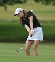 NWA Democrat-Gazette/MICHAEL WOODS &bull; @NWAMICHAELW<br /> Bentonville's Kate Robertson chips onto the green during Bentonville's golf match against Har-Ber Tuesday August 18, 2015, at the Berksdale Golf Course in Bella Vista.