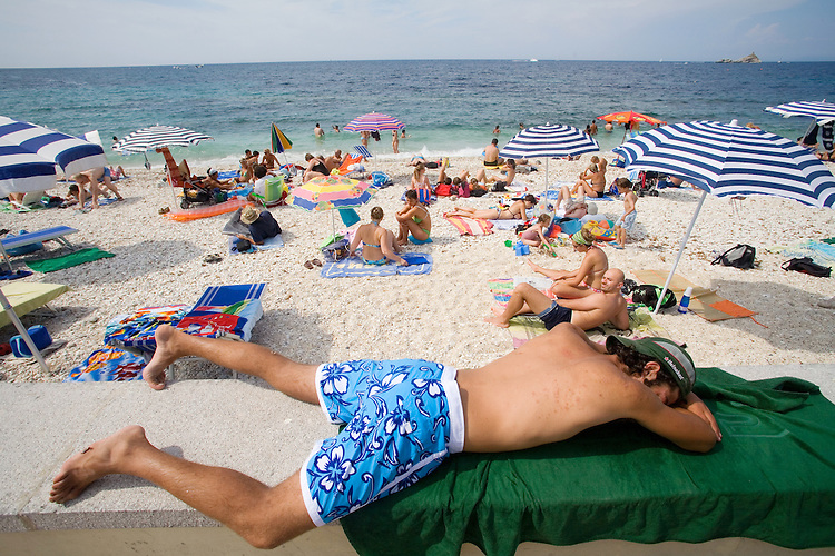 Italy, Elba, Portoferraio, Porto Ferraio, Porto Argo, Town beach, Province of Livorno; Mediterranean Sea; Tyrrhenian Sea; Tuscan archipelago, West coast of Italy, Europe,