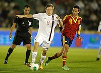 Spain's Thiago Alcantara (r) and Norway's Svensson during international sub21 match.March 21,2013. (ALTERPHOTOS/Acero) /NortePhoto