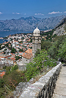 Panoramic view of Kotor and bay, Montenegro