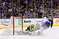 April 25, 2018: Toronto Maple Leafs right wing Kasperi Kapanen (24) scores a short handed goal against Boston Bruins goaltender Tuukka Rask (40) during game seven of the first round of the National Hockey League's Eastern Conference Stanley Cup playoffs between the Toronto Maple Leafs and the Boston Bruins held at TD Garden, in Boston, Mass. Boston defeats Toronto 7-4 and wins the best of seven series 4 games to 3 to advance to round two.